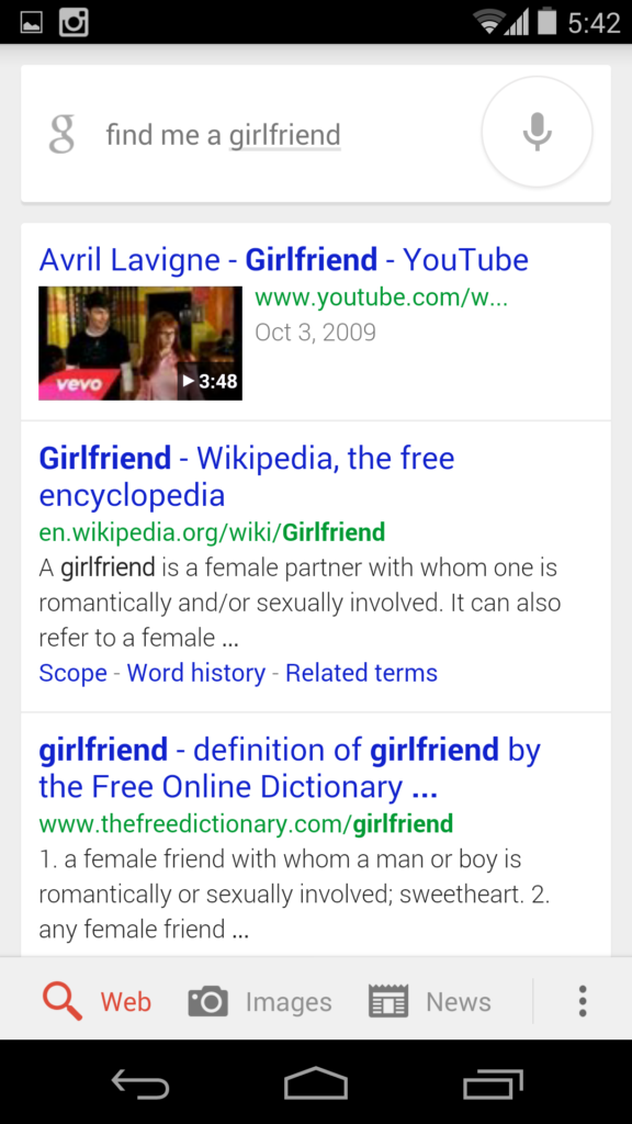 Google Now - Find me a girlfriend
